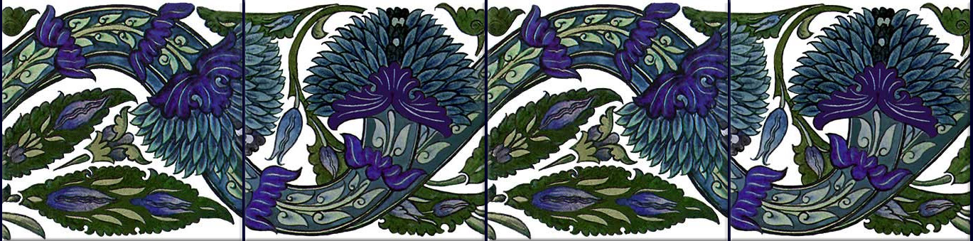 Wiliam De Morgan Blue Peony scroll done for the Arabia