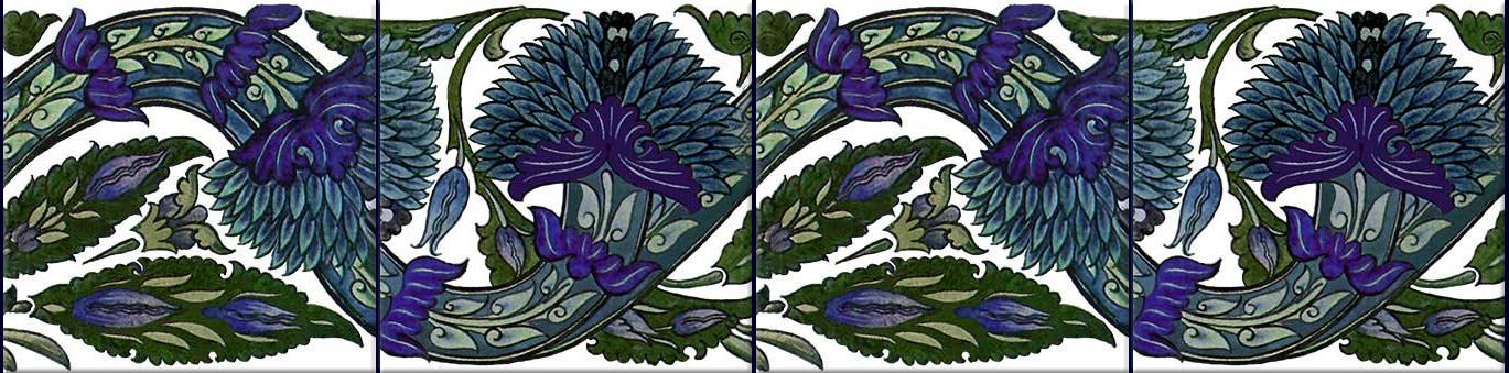 William De Morgan Blue Peony Tiles