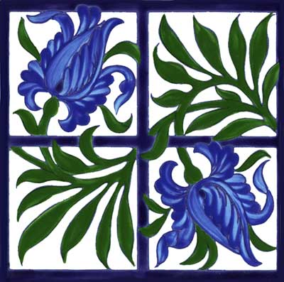 Tulip and Trellis Tile designed by William De Morgan for Morris and Co., based on a design by William Morris, later version