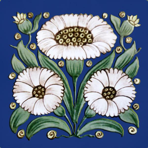 De Morgan Bedford Daisy, white on cobalt