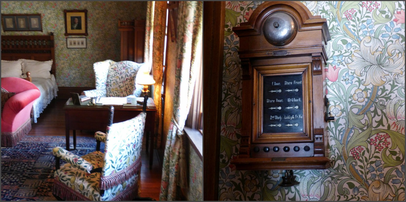 Glessner House master bedroom, with William Morris Golden Lily and Fruit textiles