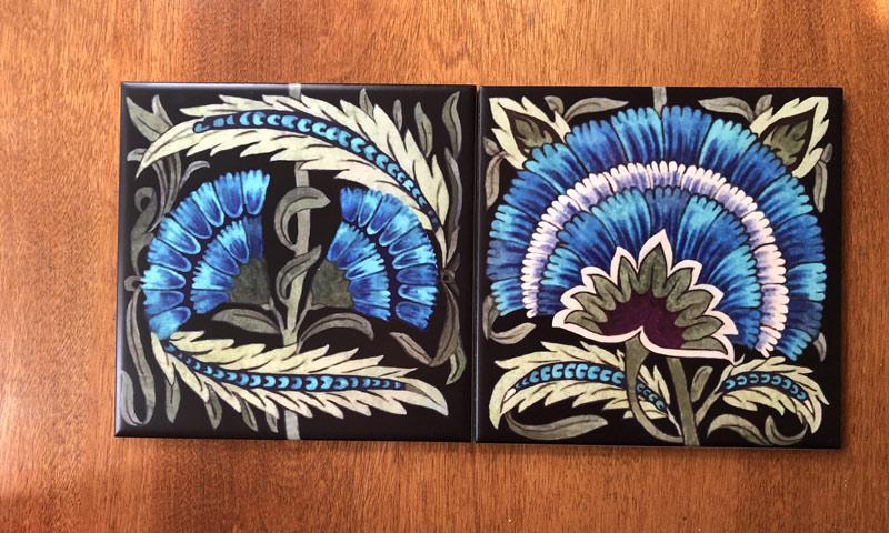 De Morgan fan and double carnation tiles on black background.