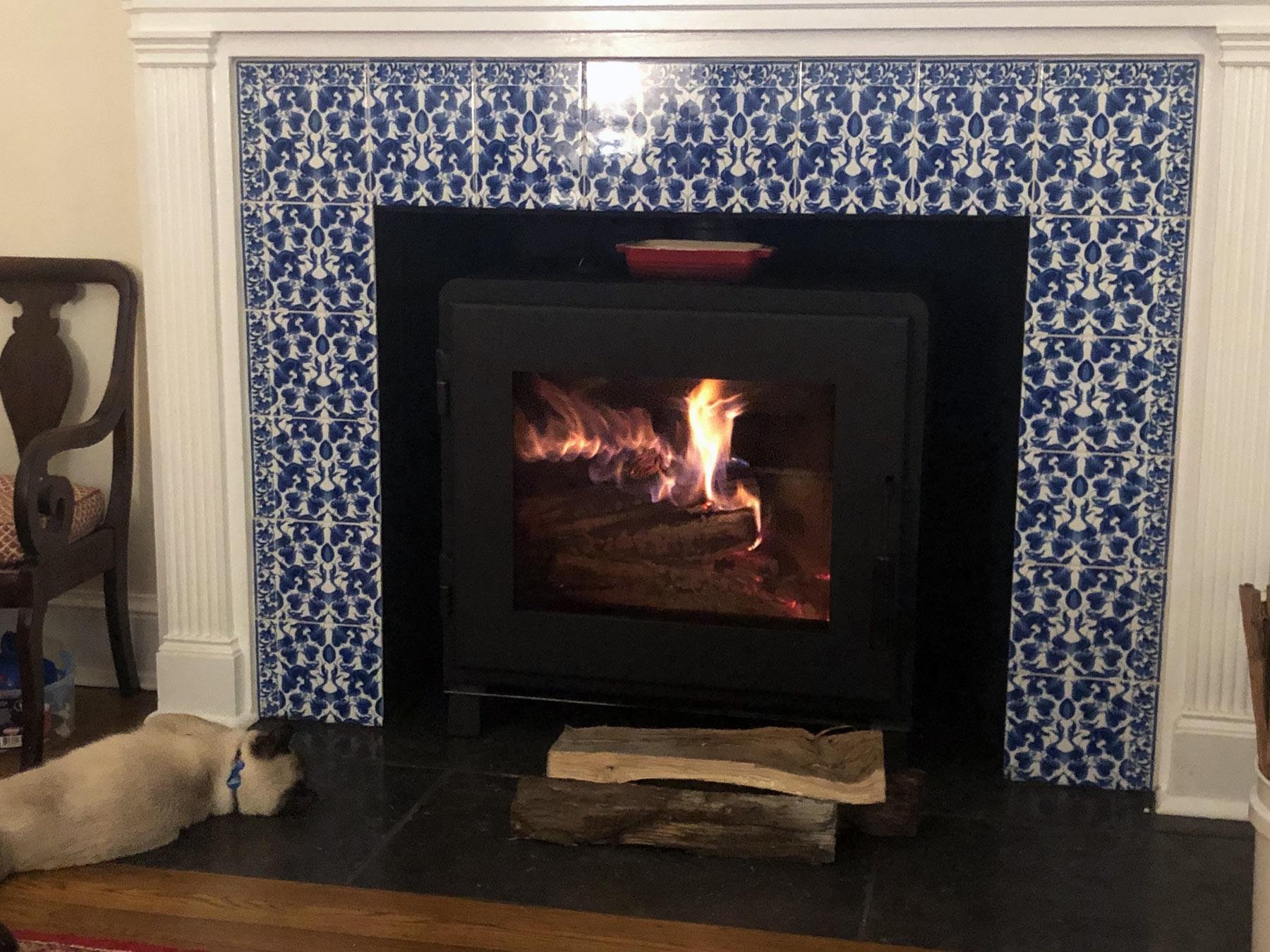 De Morgan fireplace surround with Art Nouveau Ducks and Dragons fireplace, Victorian Blue