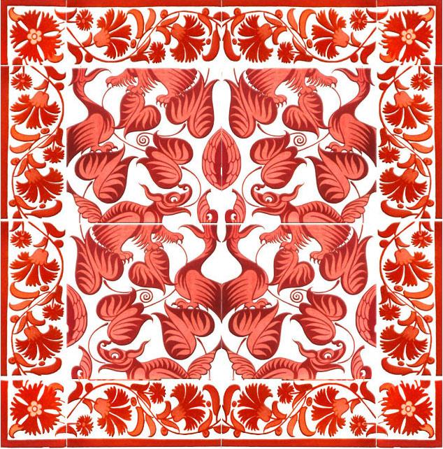 William De Morgan Red Lustre Tile Backsplash, 'Happy Dragons'. Sixteen-tile panel, including foliage border.  Center tiles are six inches.