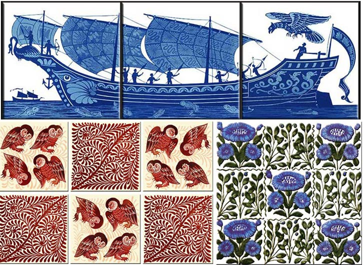 De Morgan Chelsea Tiles: Red lustre barn owls, three-tile_galleon with phoenix, Beford Park Daisy