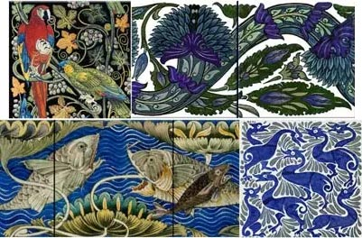 De Morgan Fulham Tiles: Parrots and Macaws, 'Arabia' Scroll, Persian Fish, Indigo Ducks