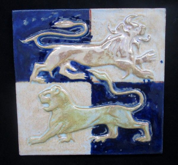 William De Morgan relief tile, lions