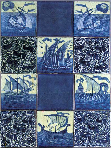 De Morgan indigo ducks with ship tiles