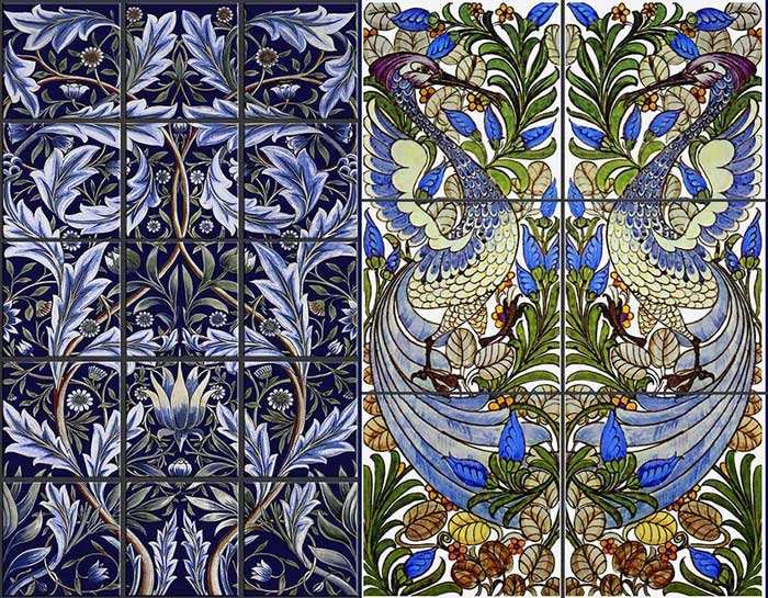 Left: William Morris and William De Morgan Membland Tile collaboration showing the natural acanthus leaves and circular movement characteristic of Morris.  Right: William De Morgan Fantastic Bird for Morris and Co.  The foliage shows the strong William Morris influence while the stylized bird and its expressive features is pure De Morgan. Reproduction tile by WilliamMorrisTile.com