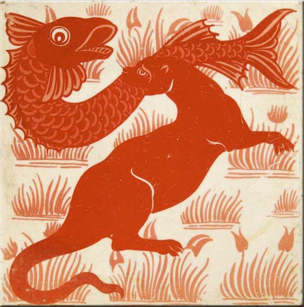 William DeMorgan Merton Abbey Red Lustre Fish and Otter
