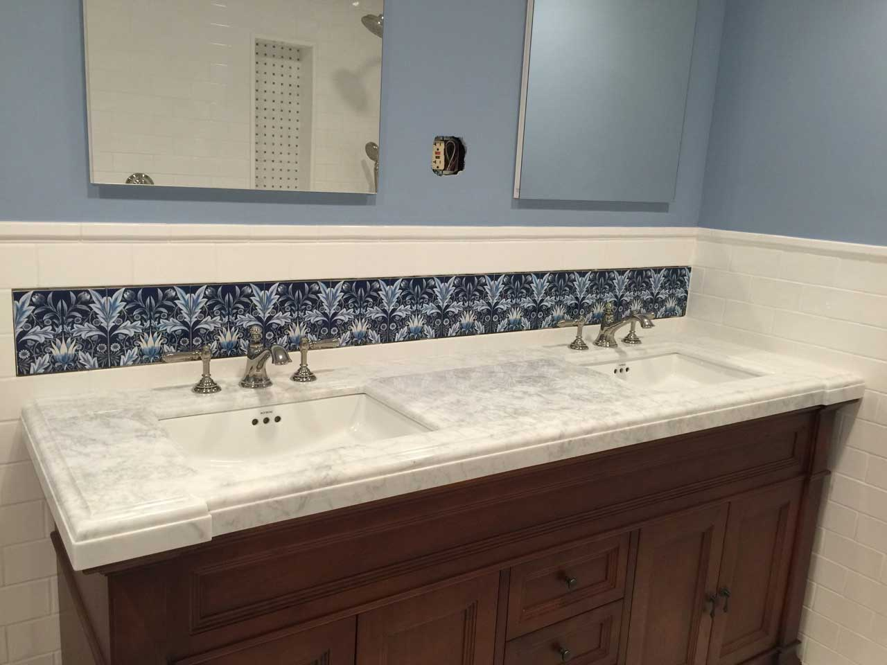 Membland Accent Tiles over sink in Brooklyn, New York.  Design by Barbara Cannizzaro of Josephine Design. Tile by WilliamMorrisTile.com