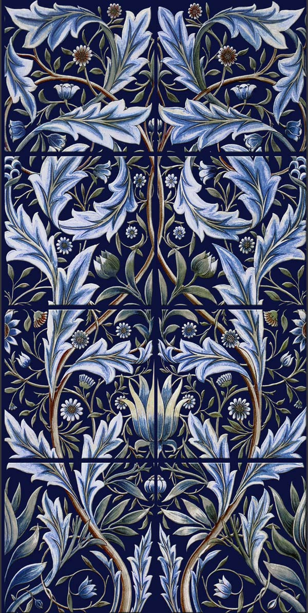 William Morris Membland Reproduction Tiles For Fireplaces
