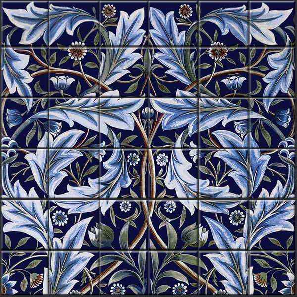 Membland Hall tile panel detail with indigo background. Membland was a collaborative effort with William De Morgan executing a William Morris design