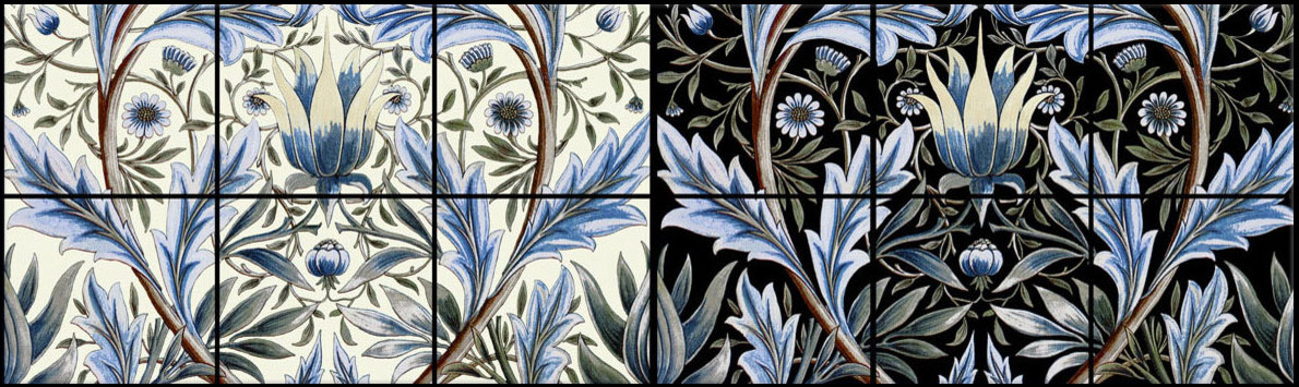 Membland tiles, design by William Morris, implemented by William De Morgan