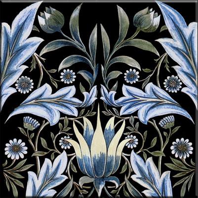 William Morris Membland Black sample tile