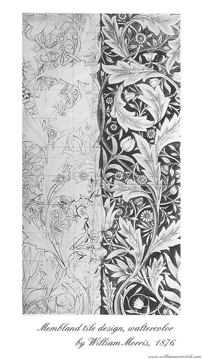 William Morris watercolor design for Membland tile panels, 1876
