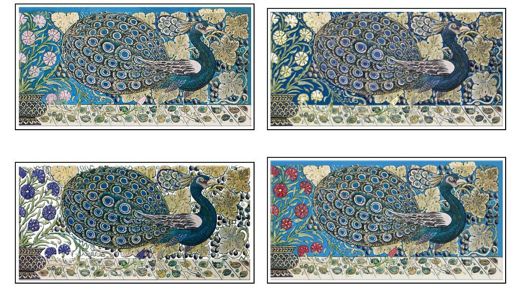 Small peacock border tiles