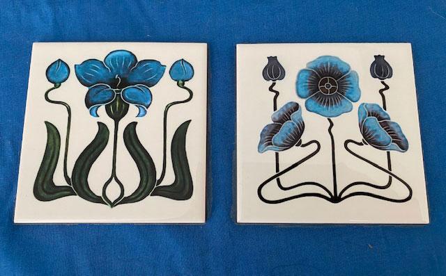 left: Art Nouveau Blue violet header tile for peacocks.  Right: Jugendstil Blue and violet header tile for peacocks