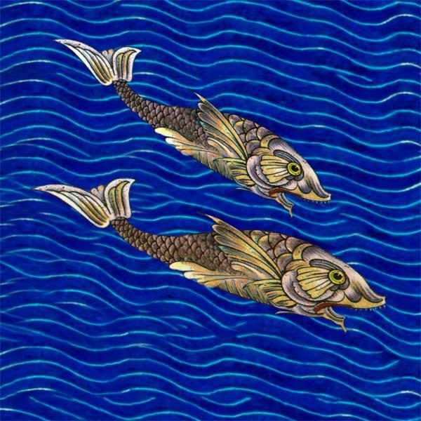 William De Morgan Persian Fish Fireplace Tiles