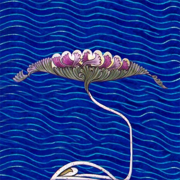 William De Morgan Water Lily Fireplace Tile, magenta.