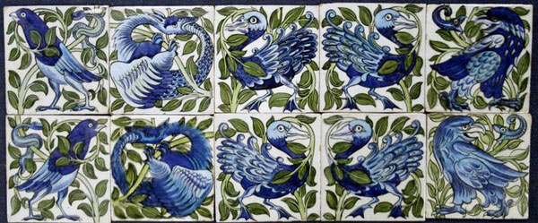 Antique De Morgan bird tiles, sold at auction