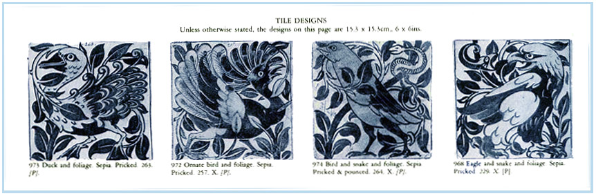 William De Morgan, designs for bird and foliage tiles from Martin Greenwood, The Designs of William De Morgan