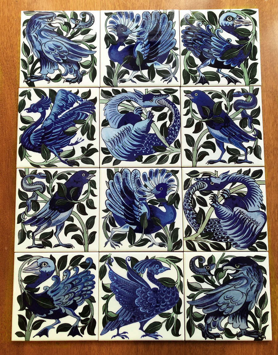 William De Morgan, A Garden of Fantastic Birds tile set. Spot the imposter!