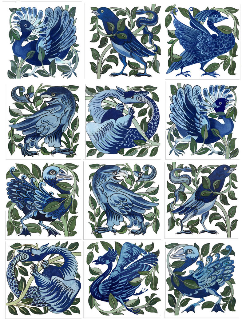 Blue and White birds and beasts, William De Morgan.
