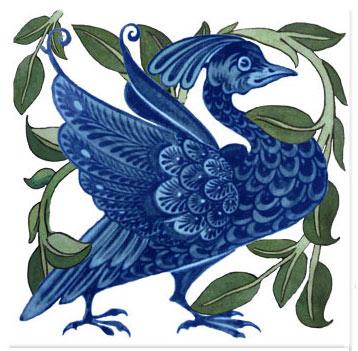 William De Morgan Fantastic Bird tile, with foliage