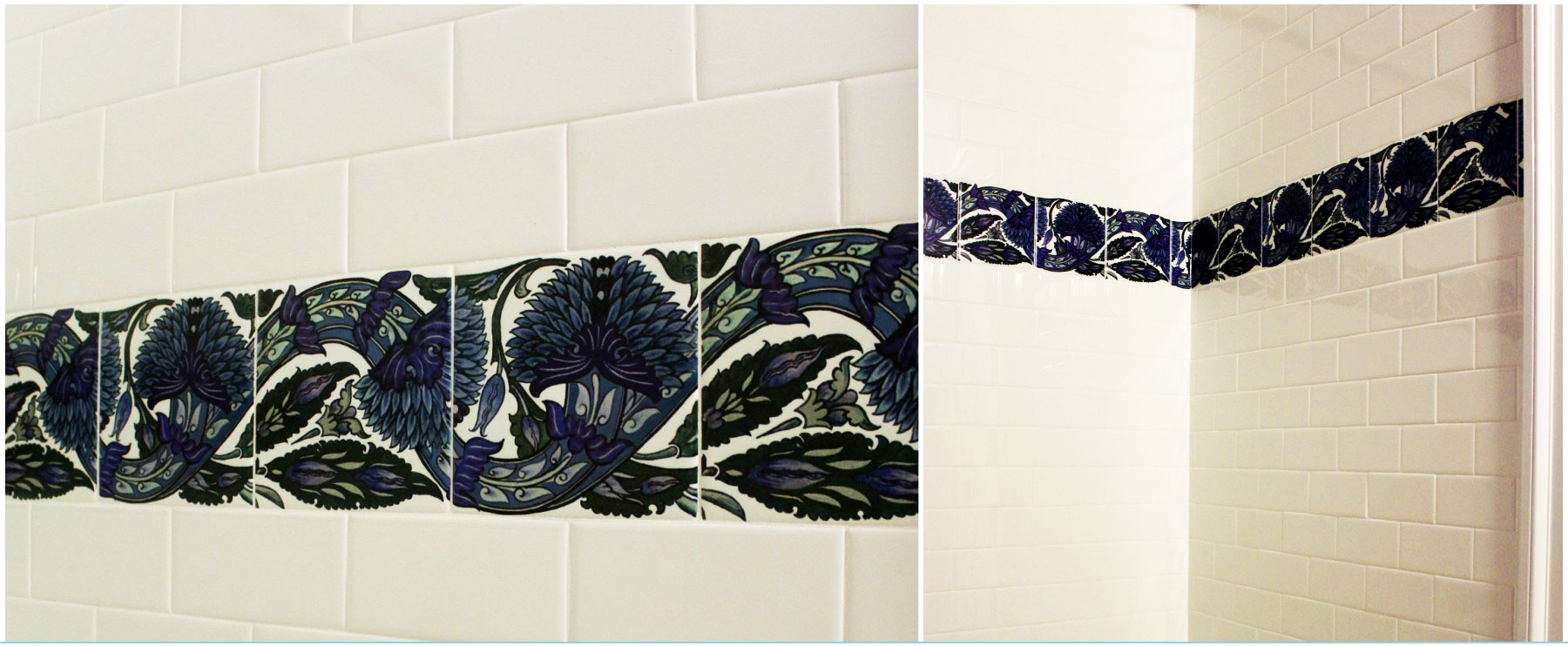 William De Morgan *Persian* tile, Blue Peony scroll, made for the P and O liner, Arabia