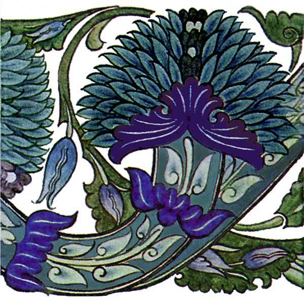 Wiliam De Morgan Blue Peony scroll done for the Arabia
