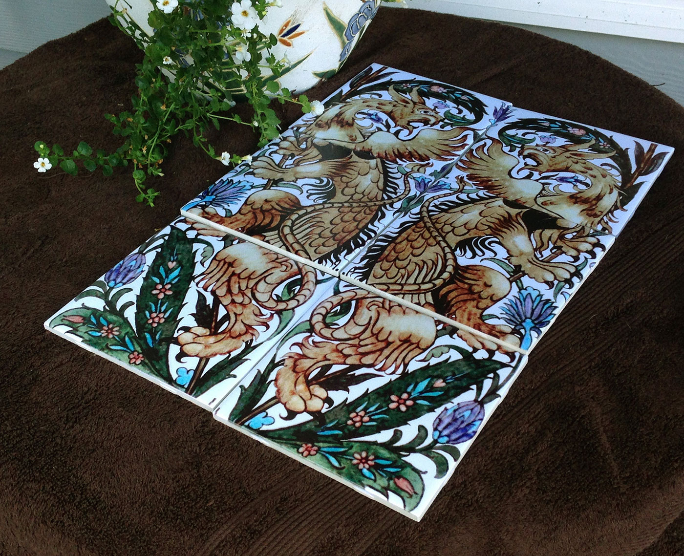 William De Morgan reproduction gryphons on eight-inch tiles, Fulham period