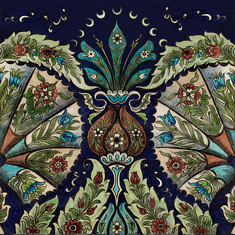 William De Morgan empress tile, Persian colors