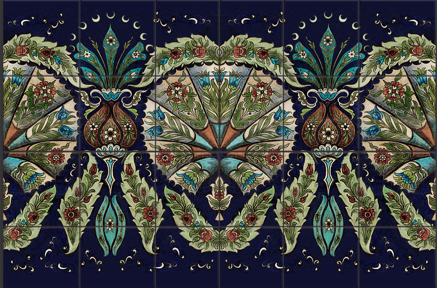 William De Morgan empress backsplash, Persian colors