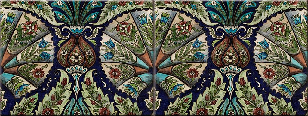 William De Morgan empress border tile, Persian colors