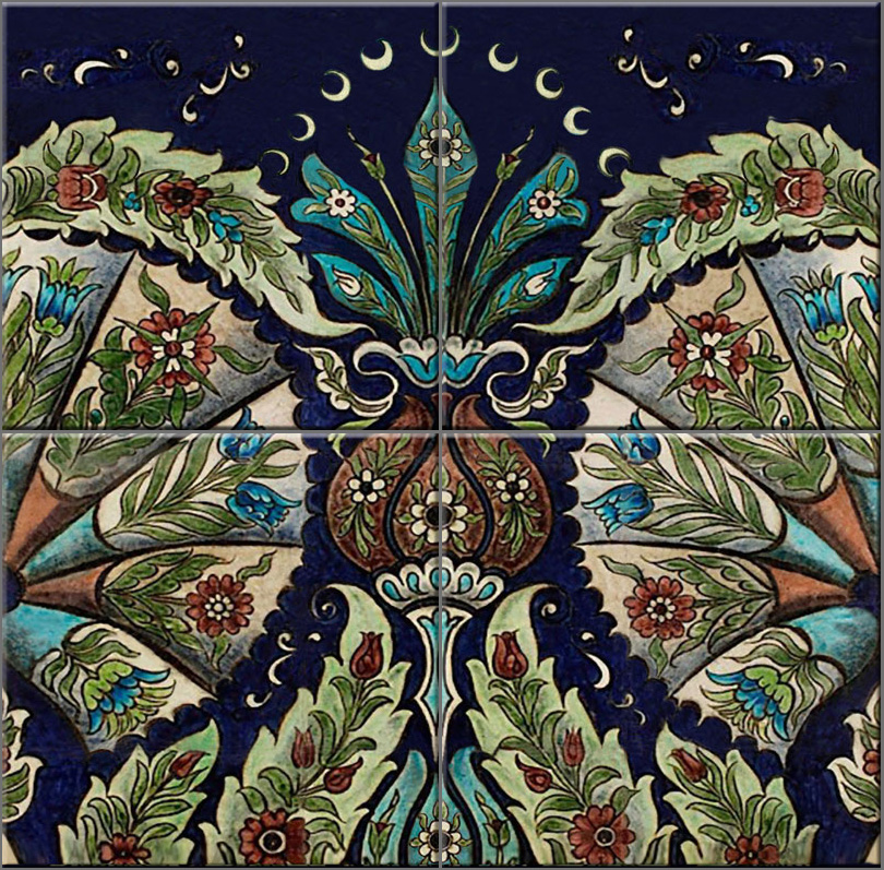 William De Morgan empress four-square tile, Persian colors