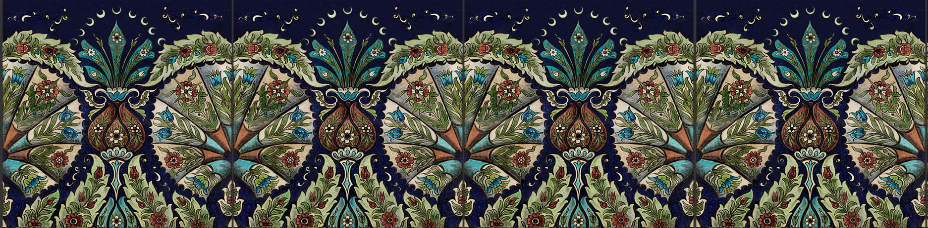 Iznik Empress tiles, based on William De Morgan Leighton House tiles