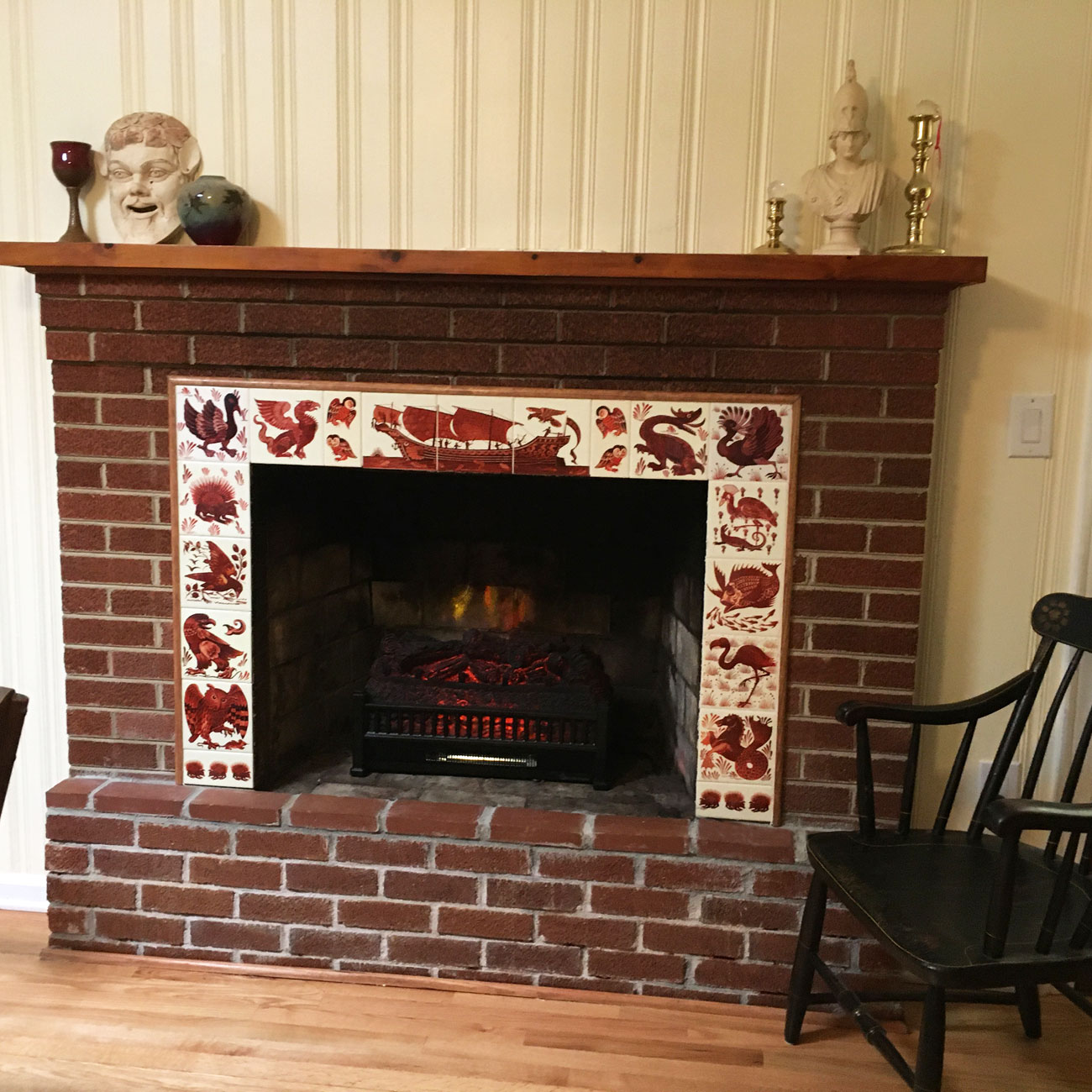 Brick and Red Lustre Tile fireplace