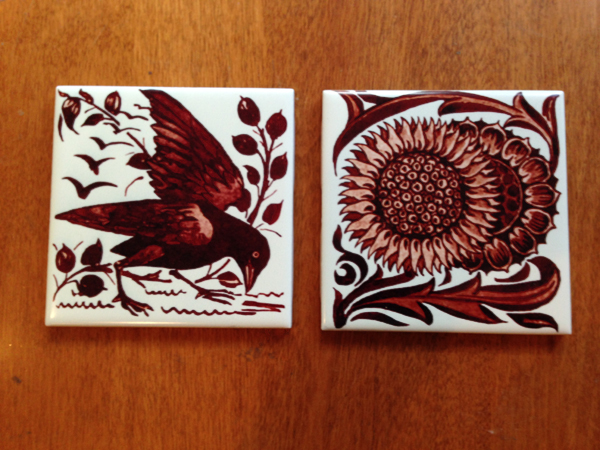 De Morgan Crow and Sunflower, red lustre tiles
