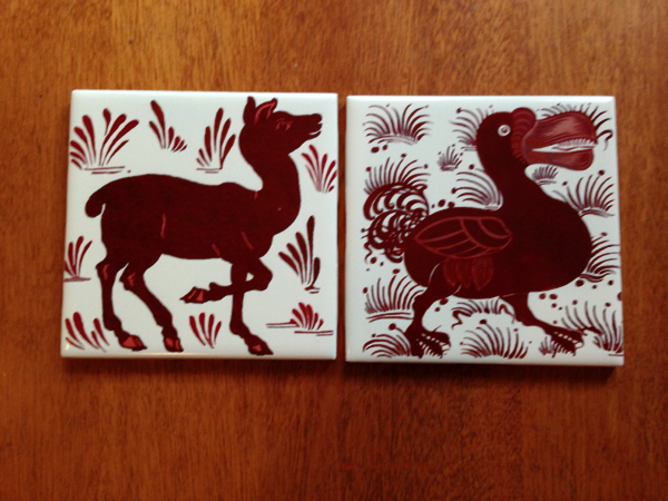 De Morgan Deer and Dodo, red lustre tiles