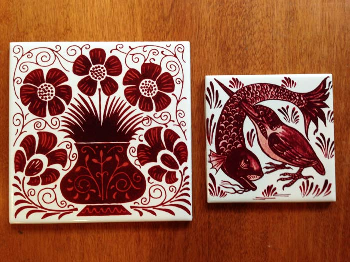 De Morgan Red Lustre tiles, 6 inch and 4 inch