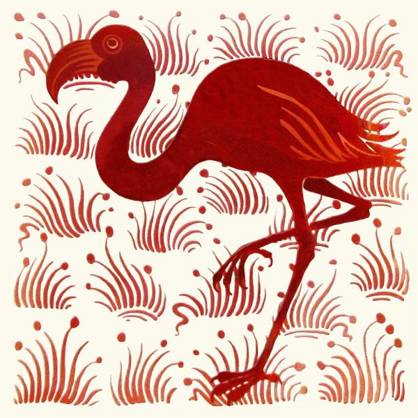 William De Morgan, red lustre flamingo