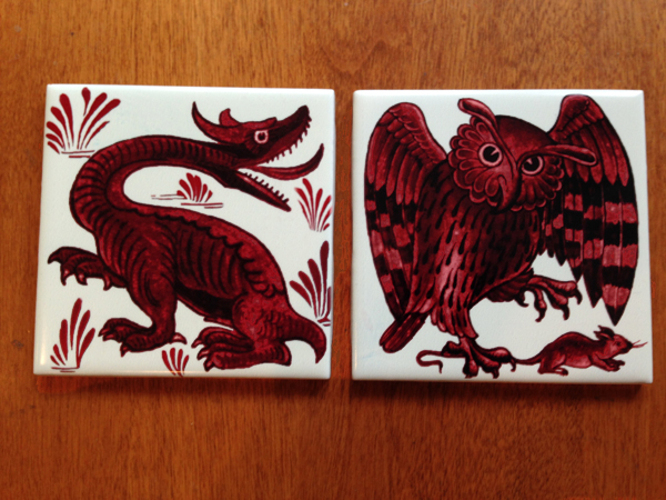 De Morgan Jabberwocky and Owl, red lustre tiles