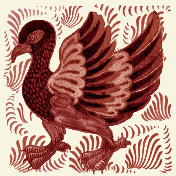 William De Morgan red lustre lory or peafowl