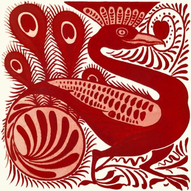 William De Morgan red lustre tile, Art Nouveau Kingfisher