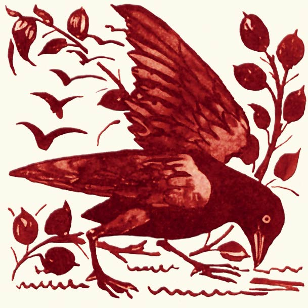 William De Morgan Red Lustre crow and foliage tile