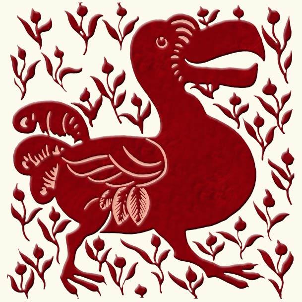 William De Morgan red lustre dodo with berries