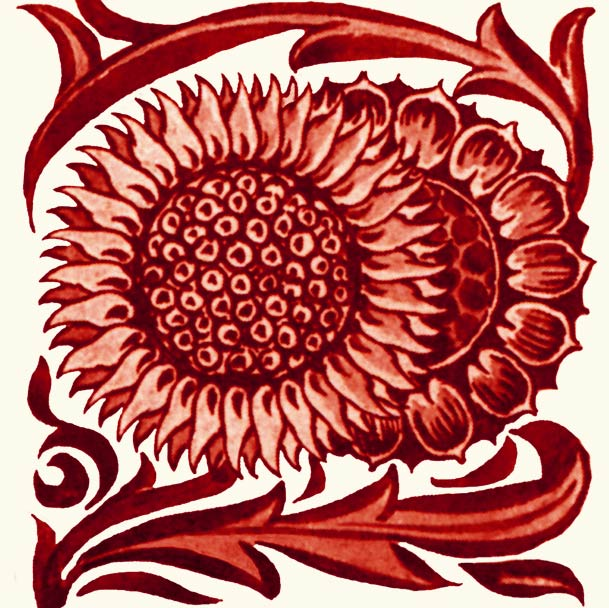 William De Morgan red lustre double sunflower