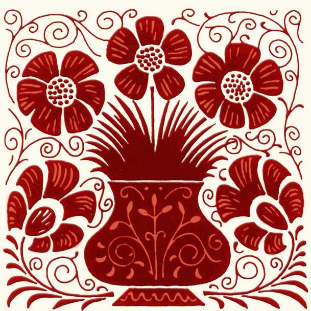 William De Morgan Red Lustre vase and flowers tile