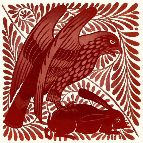 William De Morgan Red Lustre Hawk and Rabbit